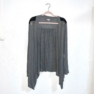 Bozzolo gray studded pleather cardigan size 2X